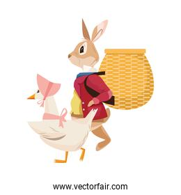 cute mom duck with rabbit easter characters
