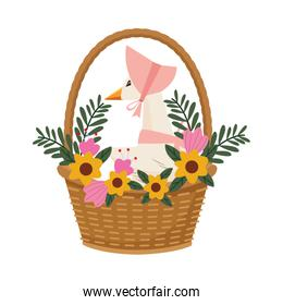 cute mom duck in basket and flowers easter character