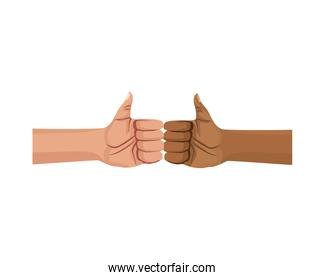 interracial hands human fist crashing