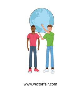 interracial men lifting planet earth avatars characters