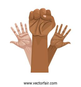 interracial hands human up isolated icon