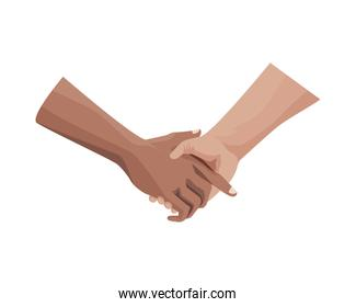 interracial handshake human isolated icon