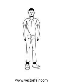 young man standing  position line style character