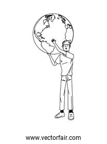 young man avatar lifting world planet character