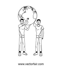 young men avatars lifting world planet characters