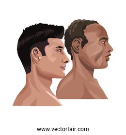 interracial men profile characters icons