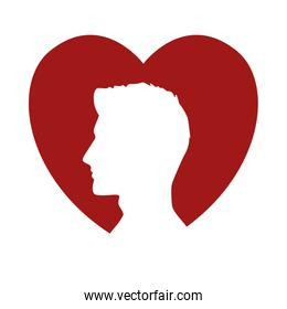 young man profile silhouette in heart