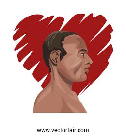 young afro man profile with heart love
