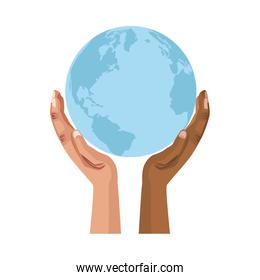 interracial hands human lifting the planet earth