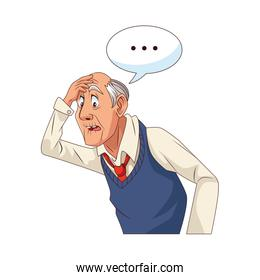 old grandfather with consecutive points in speech bubble