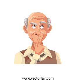 old grandfather character isolated icon