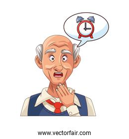 old grandfather with alarm clock in speech bubble