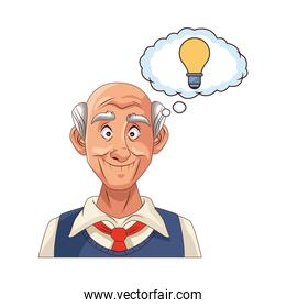 old grandfather with bulb in speech bubble