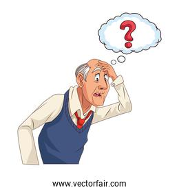 old grandfather with interrogation symbol in speech bubble