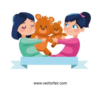 cute little girls with bear teddy characters