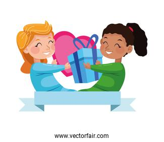 cute little girls with gift and heart characters