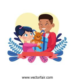 afro father with little daughter in heart floral frame