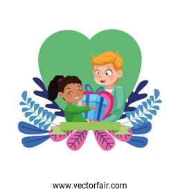 young father with little daughter in heart floral frame