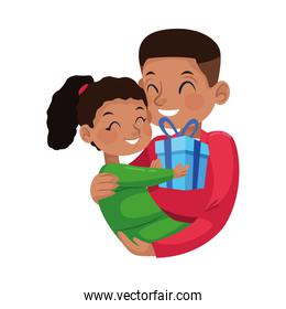 afro father with little daughter character