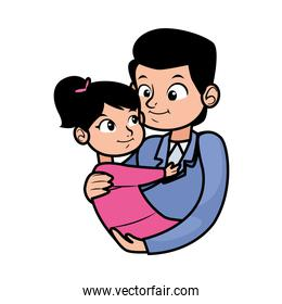 young father with little daughter character