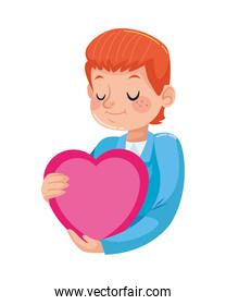 young father with heart character