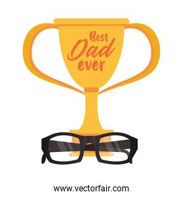 trophy cup award best dad with eye glasses