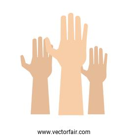 hands human up isolated icon