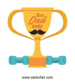 trophy cup award best dad with mustache and dumbbells