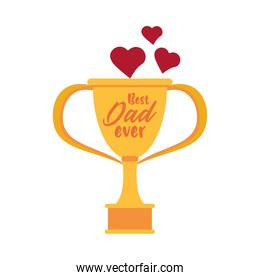 trophy cup award best dad with hearts