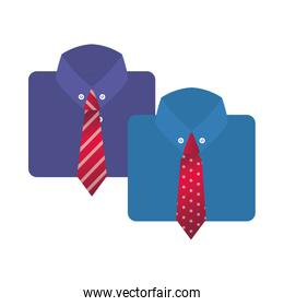 elegant shirts with neckties isolated icons