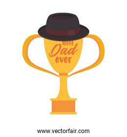 trophy cup award best dad with hat