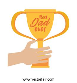 hand lifting trophy cup award best dad