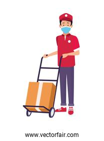 delivery worker with face mask and box in cart