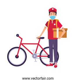 delivery worker with safety mask in bicycle