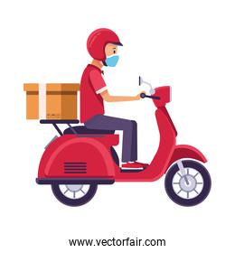 delivery worker with face mask in motorcycle