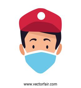 delivery worker with safety mask head