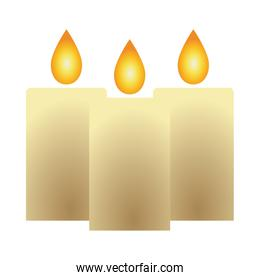 parafine candles fire isolated icon