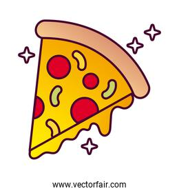 delicious italian pizza fast food detailed style icon