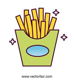 delicious french fries fast food detailed style icon