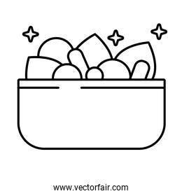 bowl with salad vegetables line style icon