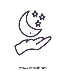 Isolated hand with moon and stars line style icon vector design