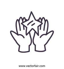 Hand holding star line style icon vector design