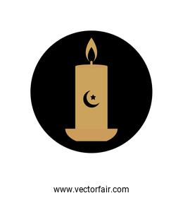 eid mubarak concept, candle with crescent moon icon, block style