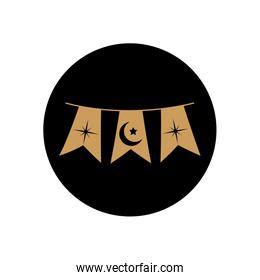 ramadan concept, decorative pennants with islamic related icons, block line style