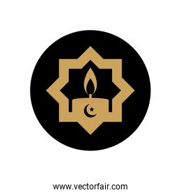 eid mubarak concept, islamic star with candle icon, block style