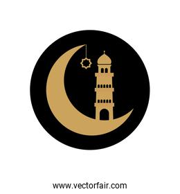 ramadan concept, crescent moon and mosque tower icon, block line style