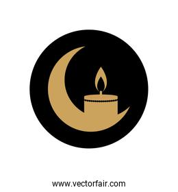 eid mubarak concept, crescent moon and candle icon, block style