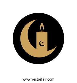 ramadan concept, crescend moon and candle icon, block line style