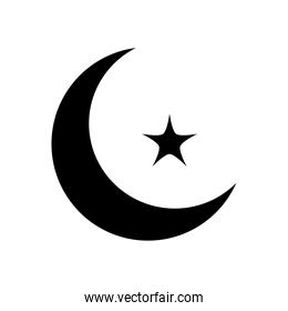 ramadan concept, crescent moon and star icon, line block style
