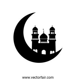 ramadan concept, crescent moon and islamic mosque icon, line style